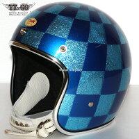 装飾用ヘルメット500-TXクリアシェルホールチェッカーフレーク&パールブルースモールジェットヘルメットXS,S,ML,XLXXL