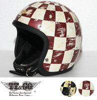 スーパーマグナムディストーションホールチェッカーズスモールジェットヘルメットSG/DOT規格