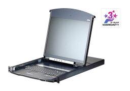 ATEN [KL1108VNJJL/ATEN] 19インチ 8ポート カテゴリ5e デュアルスライド LCD IP-KVMドロワー ロングレール