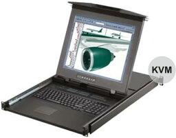 オースティンヒューズ [D117-U3202E] 1U デュアルスライド 17インチLCDモニター 106キーキーボード ドロアー タッチパッドマウス 32ポート Cat6 KVMスイッチ 2コンソール1ユーザー