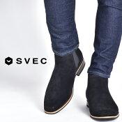 サイドゴアブーツメンズショートブーツ靴メンズ靴ブーツサイドゴアSVECシュベック革靴皮靴男性の紳士靴スウェードカジュアルシューズカジュアルブーツ黒ブラック茶色ブラウン紺ネイビーシンプル大人きれいめSPB016-42019春夏