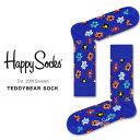 Happy Socks 靴下 ハッピーソックス レディース メンズ ブランド ソックス おしゃれ カラフル カジュアル ビジネス パンジー ギフト プレゼント 誕生日 総柄 テディベア TEDDY BEAR SOCK 2019 夏 秋 冬