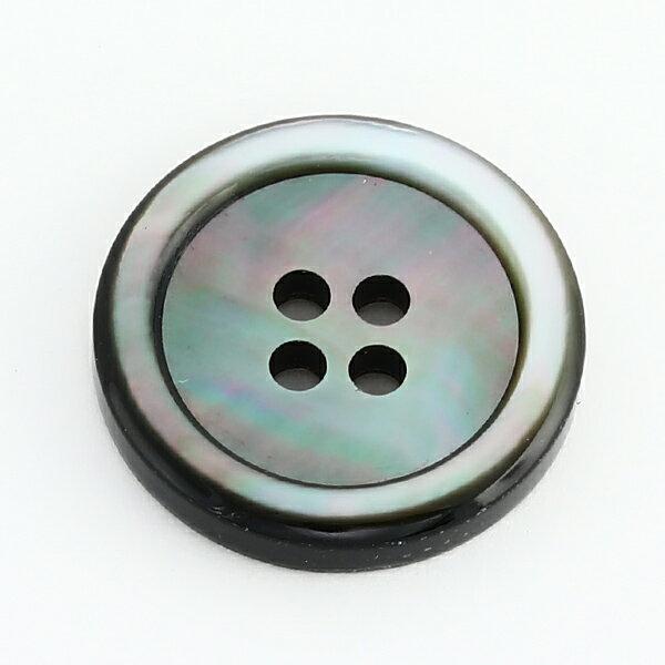 [メール便]厚手3.5mm厚17型黒蝶貝ボタン 15mm[単品1個]肉厚スーツジャケットの袖用ボタンに