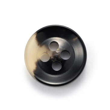 水牛ボタンK-250(COLOR.3C)黒ベージュ15mm紳士服スーツジャケットの袖口・袖ボタン
