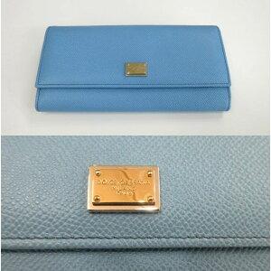 New Dolce & Gabbana 2-fold long wallet Dolgaba plate sky blue [Tomorrow for music _ Kanto]