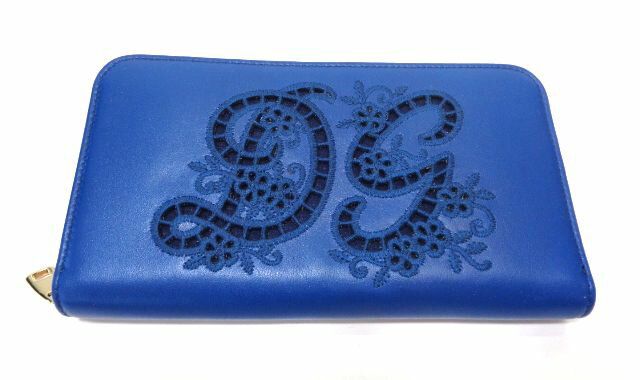 DOLCE&GABBANA『ラウンドファスナー長財布刺繍DGロゴブルー』