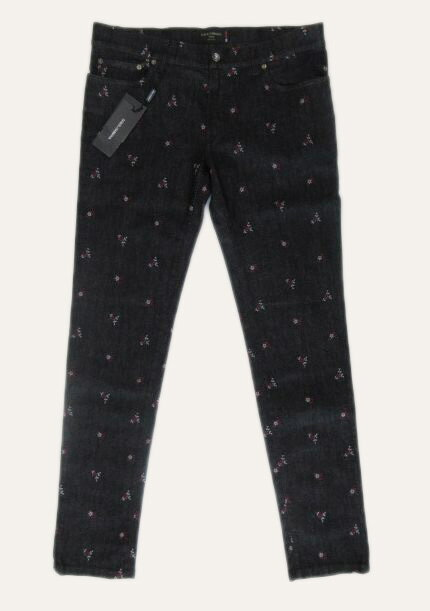メンズ ドルチェ&ガッバーナ ストレート 刺繍 ストレッチジーンズ ブラック 52