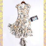 花柄ワンピース/全円形スカートふわふわ/オーガンジー/フォーマル/やわらか上品