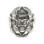 仏陀 鬼 指輪 約19号 大仏 釈迦 仏 顔 割れ 魔除 怒り ヒーリング グッズ 仏教 アンガーマネジメント リング