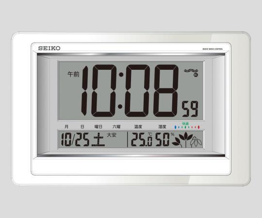 ★ポイント最大7倍★【全国配送可】-温度湿度計付電波デジタル時計 SQ432W セイコー 型番SQ432W  JAN4517228035487 aso2-7730-11 -【研究用機器】