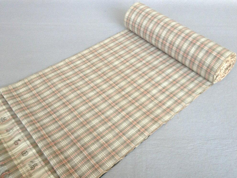 着物 着尺越前石田縞手織り綿紬/おしゃれきもの・格子佐々木 理恵 作送料無料