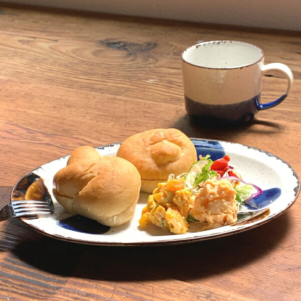 美濃焼るり玉オーバル10インチおしゃれ食器皿オーバル皿手書きアイトー