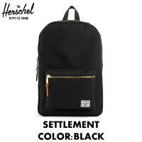 ハーシェル,HERSCHEL,メンズ,レディース,バッグ,リュックサック,バックパック,黒,BLACK,ブラック,SETTLEMENT,セトルメント,メンズ,レディース,リュック,ハーシェル