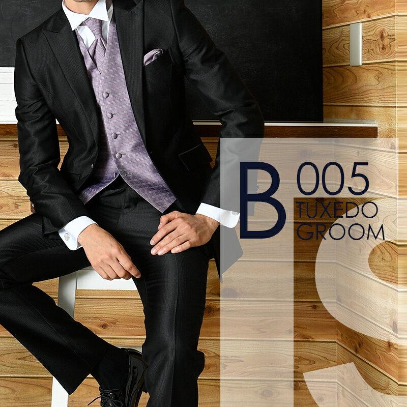 ブラック光沢プレーン ロングタキシード B005【レンタル】セット9点 選べるベスト・タイ・チーフ ◆4泊5日 往復送料無料 お直し可能◆