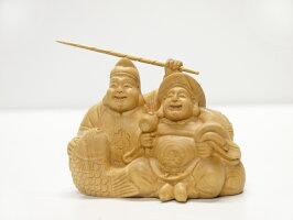 〜木彫り恵比寿大黒〜一刀彫/素材:屋久杉(置物)