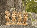 木彫り 仏像 四天王(持国天・広目天・多門天・増長天)一刀彫 / 素材:けやき