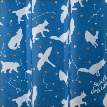 ユニベール キッズドレープカーテン おほしさま ブルー 幅100×丈135cm 2 枚組