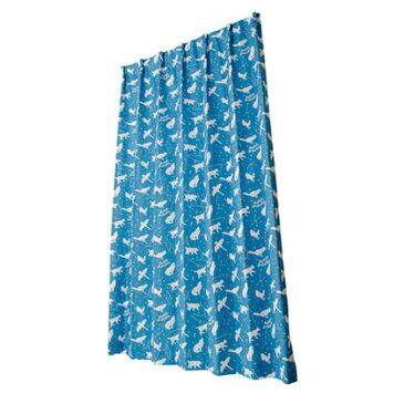 ユニベール キッズドレープカーテン おほしさま ブルー 幅100×丈200cm 2 枚組