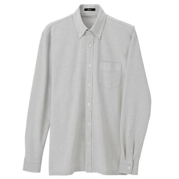 アイトス 長袖ニットボタンダウンシャツ(男女兼用) 004グレー 3S 7853-004-3S