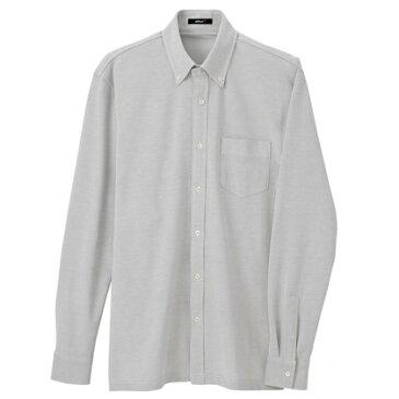 アイトス 長袖ニットボタンダウンシャツ(男女兼用) 004グレー SS 7853-004-SS