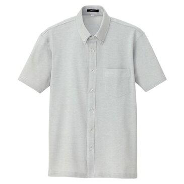 アイトス 半袖ニットボタンダウンシャツ(男女兼用) 004グレー 4L 7854-004-4L