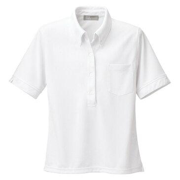 アイトス レディース半袖ニットボタンダウンシャツ 001ホワイト 4L 861207-001-4L
