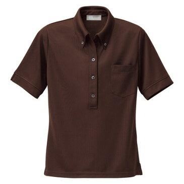 アイトス レディース半袖ニットボタンダウンシャツ 022ブラウン M 861207-022-M