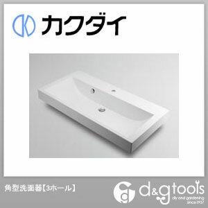 カクダイ 角型洗面器(3ホール) 493-071-1000