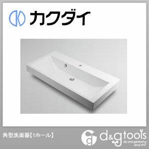 カクダイ 角型洗面器(1ホール) (493-070-1000H)