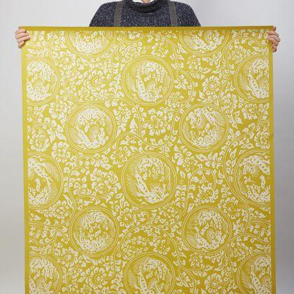 夏水組セレクション 獅子地紋 ふすま紙 唐子(からし) 紙全体サイズ200cm×97cm FS102 1枚