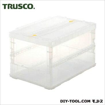 TRUSCO 薄型折りたたみコンテナスケル50Lロックフタ付透明 TM TSK-C50B