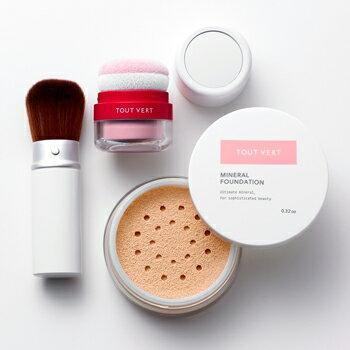 送料無料 BBクリームの仕上げにもお勧め!毛穴や小じわを目立たせない!乾燥肌のための日本製MMU(パウダーファンデーション)トゥヴェール ミネラルファンデーション9g&ぽんぽんチーク1色&フェイスブラシセット
