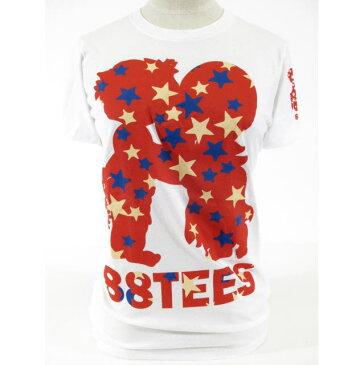 88TEES(エイティーエイティーズ)レディース・Tシャツホワイト×レッド×スターシルエット・サイズ:S〜L【嵐☆Mステ】【相葉くん着用】【キンプリ岸 優太くん着用】