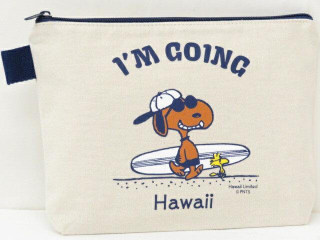 Moni Honolulu モニホノルル【ハワイ限定・Hawaii直輸入】日焼けスヌーピー ポーチI'M GOING×ナチュラル×ネイビー
