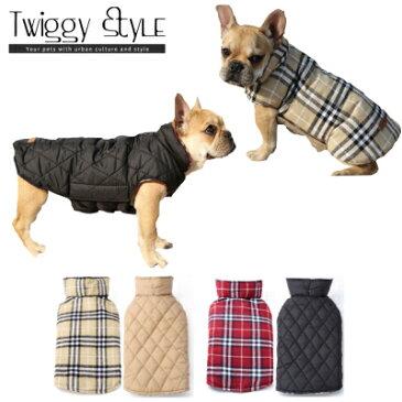 【犬服・ドッグウェア・秋・冬・シンプル・暖かい・プチプラ・中型犬・大型犬・犬用コート】 チェック柄リバーシブルコート
