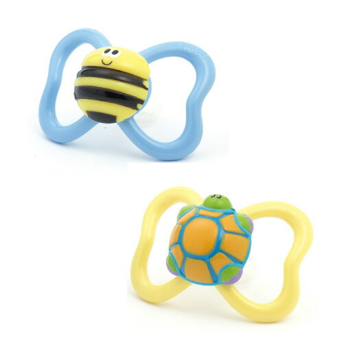 Pacifier valdese (set of 2): Turtle & bee