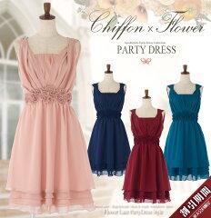 パーティードレス 結婚式 ドレス ウエスト薔薇モチーフのAラインパーティドレス パーティードレス通販