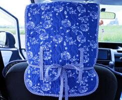 車シートカバー汎用藍花柄自動車シートカバーフロント2枚セット