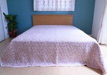 ピンク花柄マルチカバー(190×190cm)ラグ