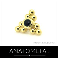 18金サブリナ・3ポイント・エンド7mm単品(カボションカット/2mm)ANATOMETAL