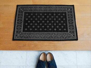 CrossBandannaRugBlackクロスバンダナラグブラックS80×50cmおしゃれホットカーペット床暖房対応