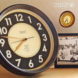 蓄光 夜光 掛け時計 おしゃれ 日本製 音がしない 木製 見やすい おすすめ 大きい 静音 スイープムーブメント 連続秒針 寝室 アメリカン雑貨 ナチュラル かわいい ブラック ブラウン 黒 茶色 レトロ 送料無料 BENSON Wall Clock ベンソンウォールクロック TRADITION ACOUSTIC