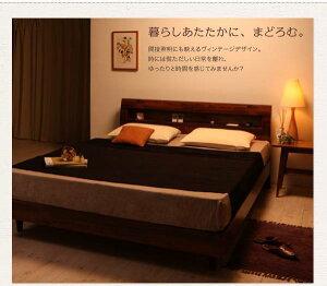【送料無料】【】棚・コンセント付きデザインすのこベッド【Kleinod】クライノート【羊毛入りデュラテクノマットレス付き】クイーン