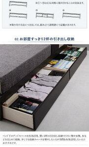 【送料無料】【】可動棚付きヘッドボード/収納ベッド【BRUXA】ブルーシャ【国産ポケットコイルマットレス】ダブル