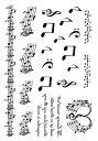 タトゥーシール リアルなフェイクタトゥー 音符 アルファベット 五線譜の絵柄 コスプレ ハロウィン ボディペイント 腕 足 背中など 好きな所に貼れるシール