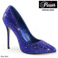 パンプスPleaser(プリーザー)ハイヒールアーモンドトゥラインストーン付き青ブルー美脚シューズレディース靴大きいサイズ送料無料AMUSE-20RSAMU20RS/BLSA◆取寄せ