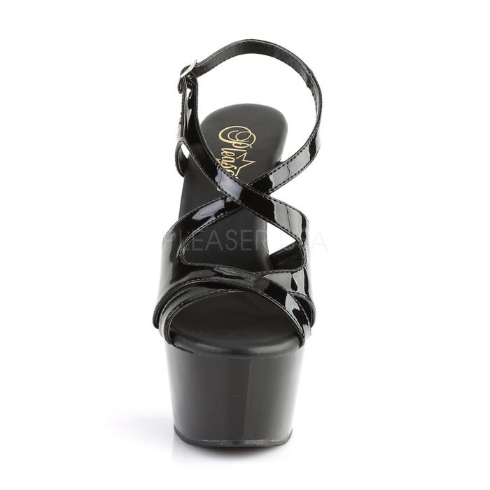 取寄せ Pleaser プリーザー レディース 厚底 サンダル アンクルストラップ 厚底サンダル エナメル黒(ブラック) クロスストラップ ハイヒール 約15cmヒール ポールダンス 靴 大きいサイズ コスプレ 衣装 ASPIRE-630 ASP630/B/M