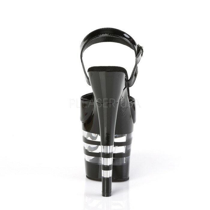 Pleaser プリーザー 取寄せ 厚底サンダル アンクルストラップ エナメル黒(ブラック)のアッパー ブラックとクリアのボーダー模様の厚底 約18cmヒール 超厚底 ハイヒール レディース コスプレ 衣装 ポールダンス 靴 大きいサイズ キャバ RADIANT-709LN RAD709LN/B/M