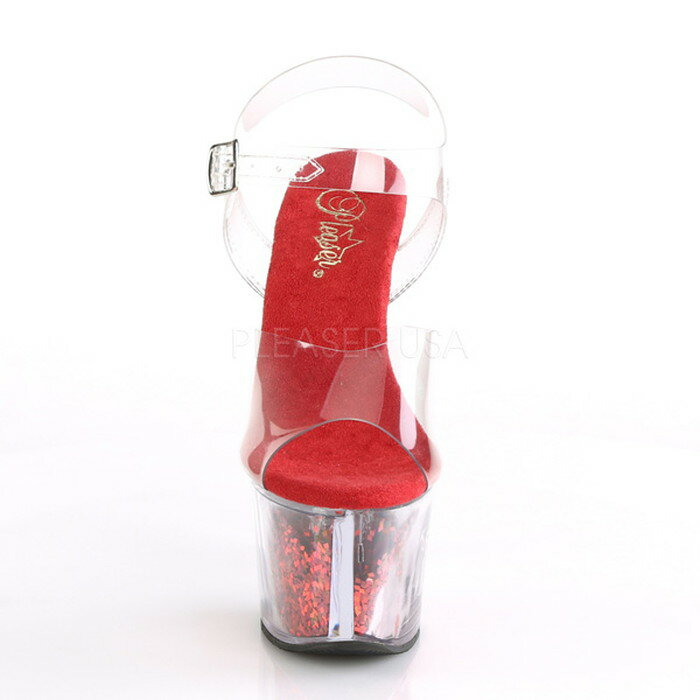 Pleaser プリーザー 取寄せ 厚底サンダル 厚底 アンクルストラップ クリアアッパー クリアヒール 赤(レッド)のグリッターラメ入りの厚底 ピンヒール ハイヒール レディース コスプレ 衣装 ポールダンス 靴 大きいサイズ キャバ SKY308GF/C/RG SKY-308GF