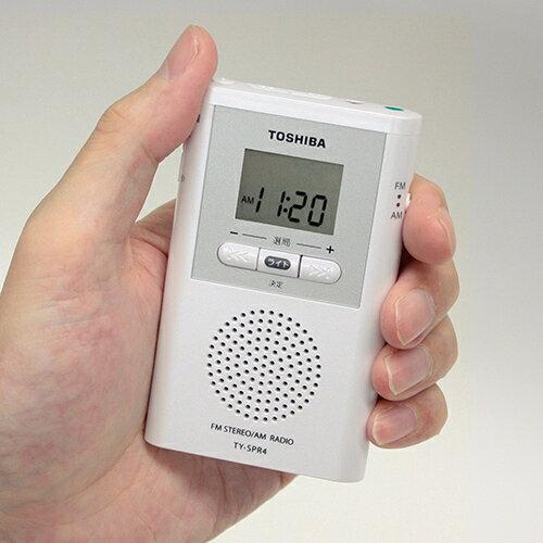 東芝・AM/FMラジオ 小型手のひらサイズ簡単選局LEDライト災害防災TY-SPR4
